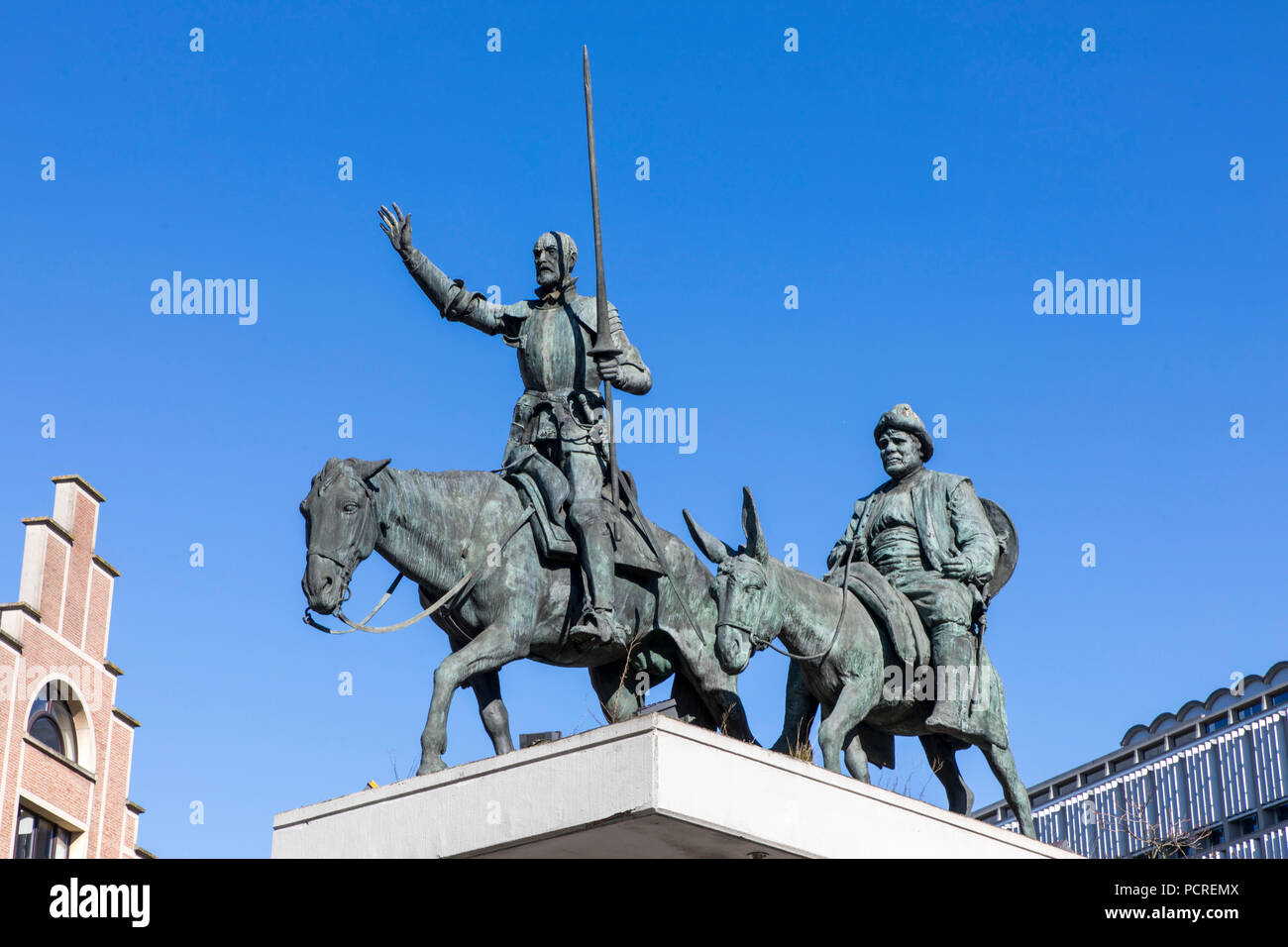 Don Quixote Monument in downtown Brussels, on Place d'Espagne, Stock Photo