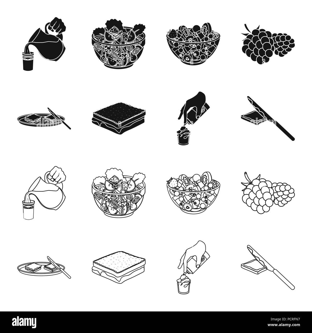 Dessert with cream, a sandwich and other food. Food set collection icons in black,outline style vector symbol stock illustration . - Stock Vector