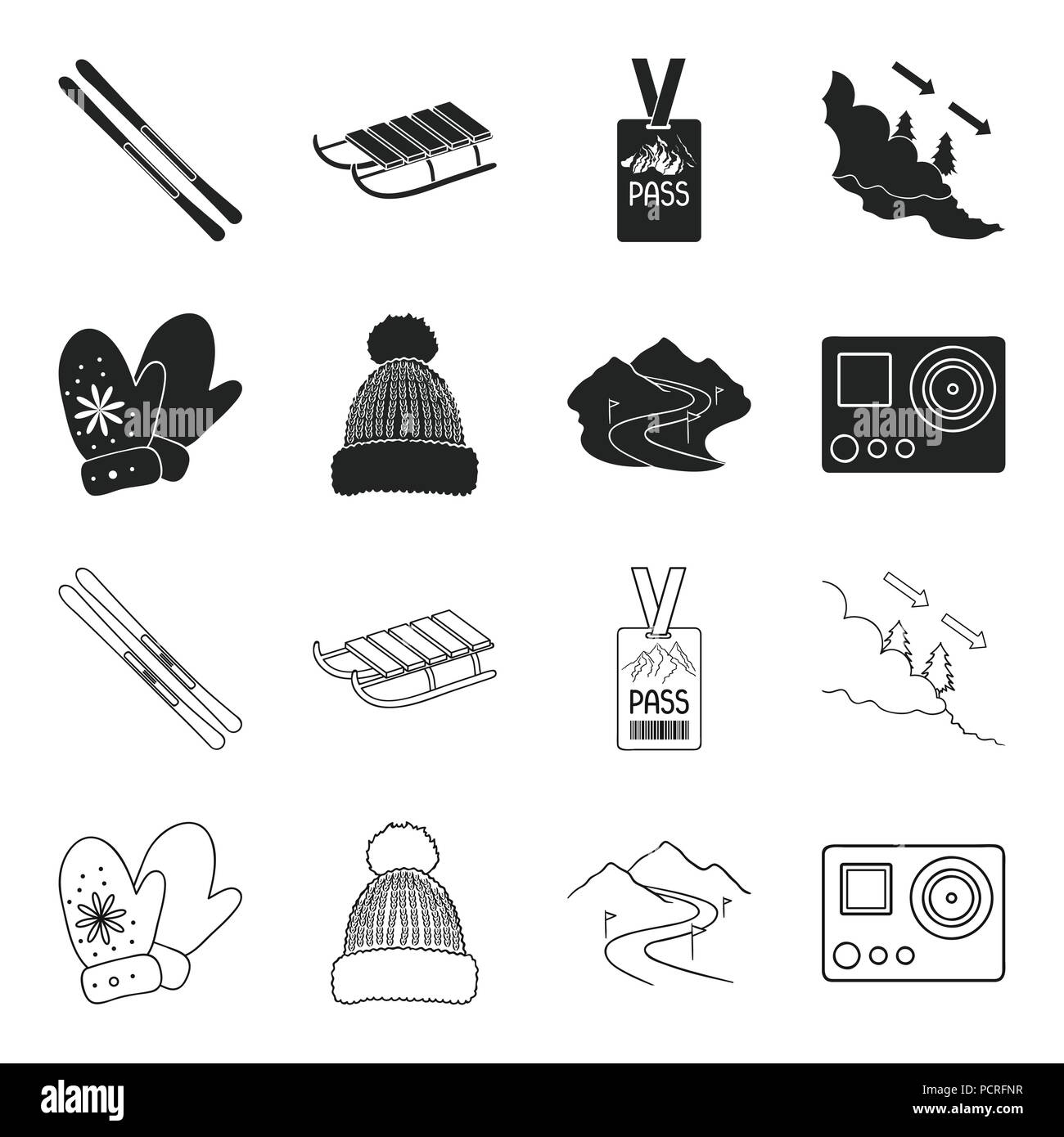 Mittens, warm hat, ski piste, motion camera. Ski resort set collection icons in black,outline style vector symbol stock illustration . - Stock Image