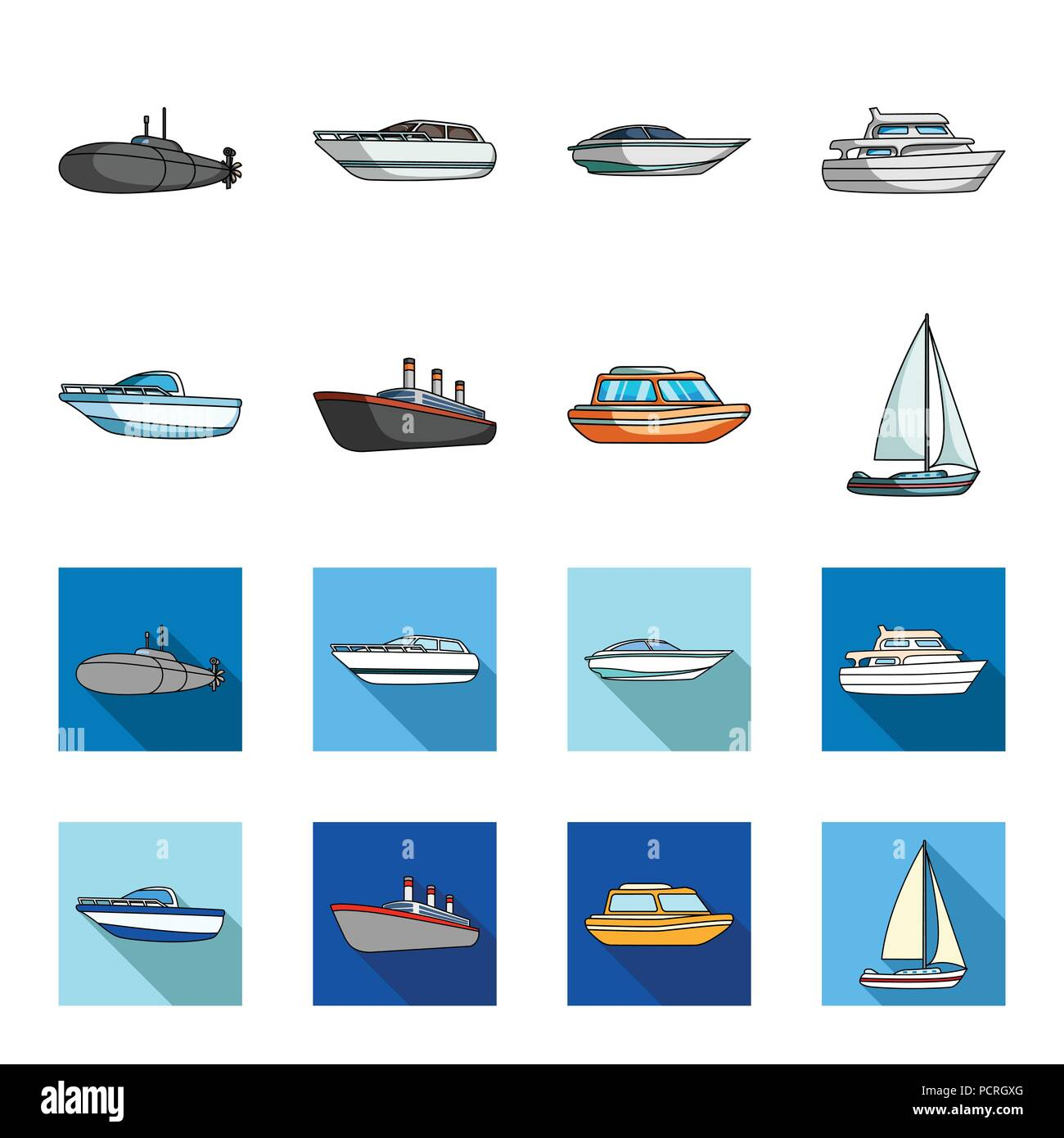 Protection boat, lifeboat, cargo steamer, sports yacht.Ships and water transport set collection icons in cartoon,flat style vector symbol stock illust - Stock Vector