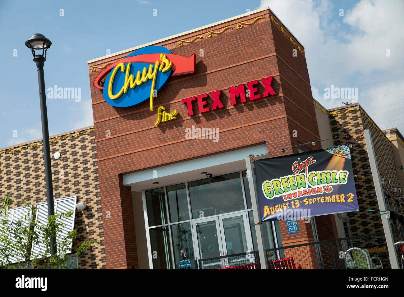 A logo sign outside of a Chuy's restaurant location in Westminster, Colorado, on July 23, 2018. - Stock Image