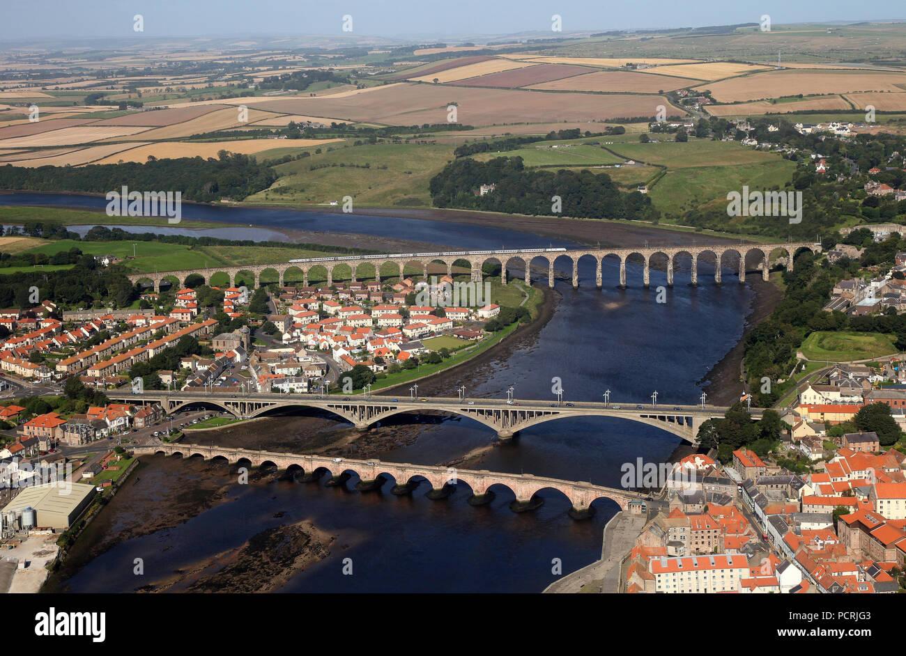 Royal Border Bridge at Berwick Upon Tweed from the air on 4.9.12 - Stock Image