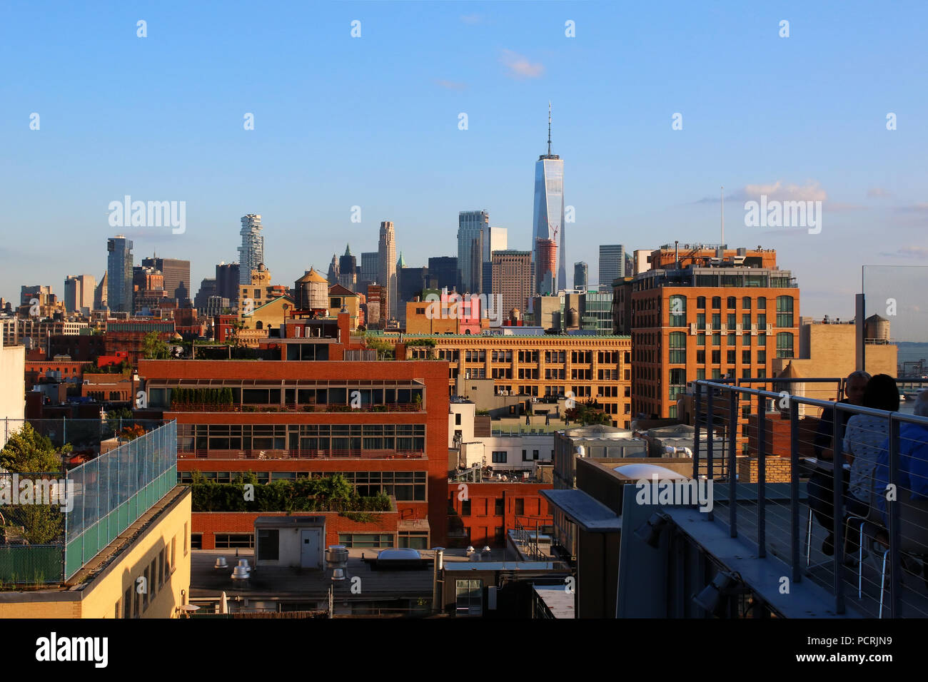 Rooftop view of Lower Manhattan and Financial District skyline, Meatpacking District, Manhattan on JULY 7th, 2017 in New York, USA. Stock Photo