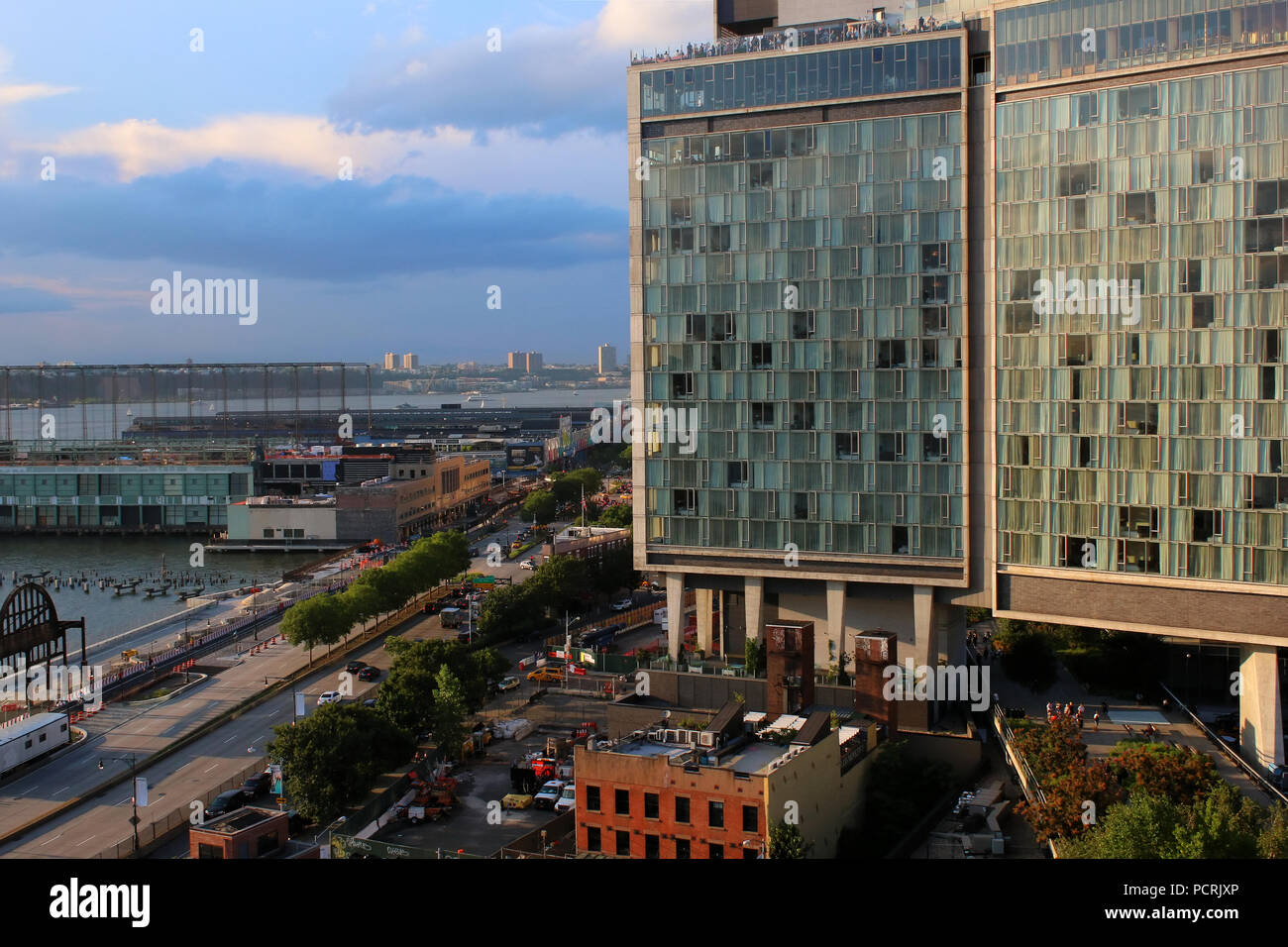 Rooftop view of Standard Hotel and Hudson River Greenway, Meatpacking District, Manhattan on JULY 7th, 2017 in New York, USA. (Photo by Wojciech Migda Stock Photo