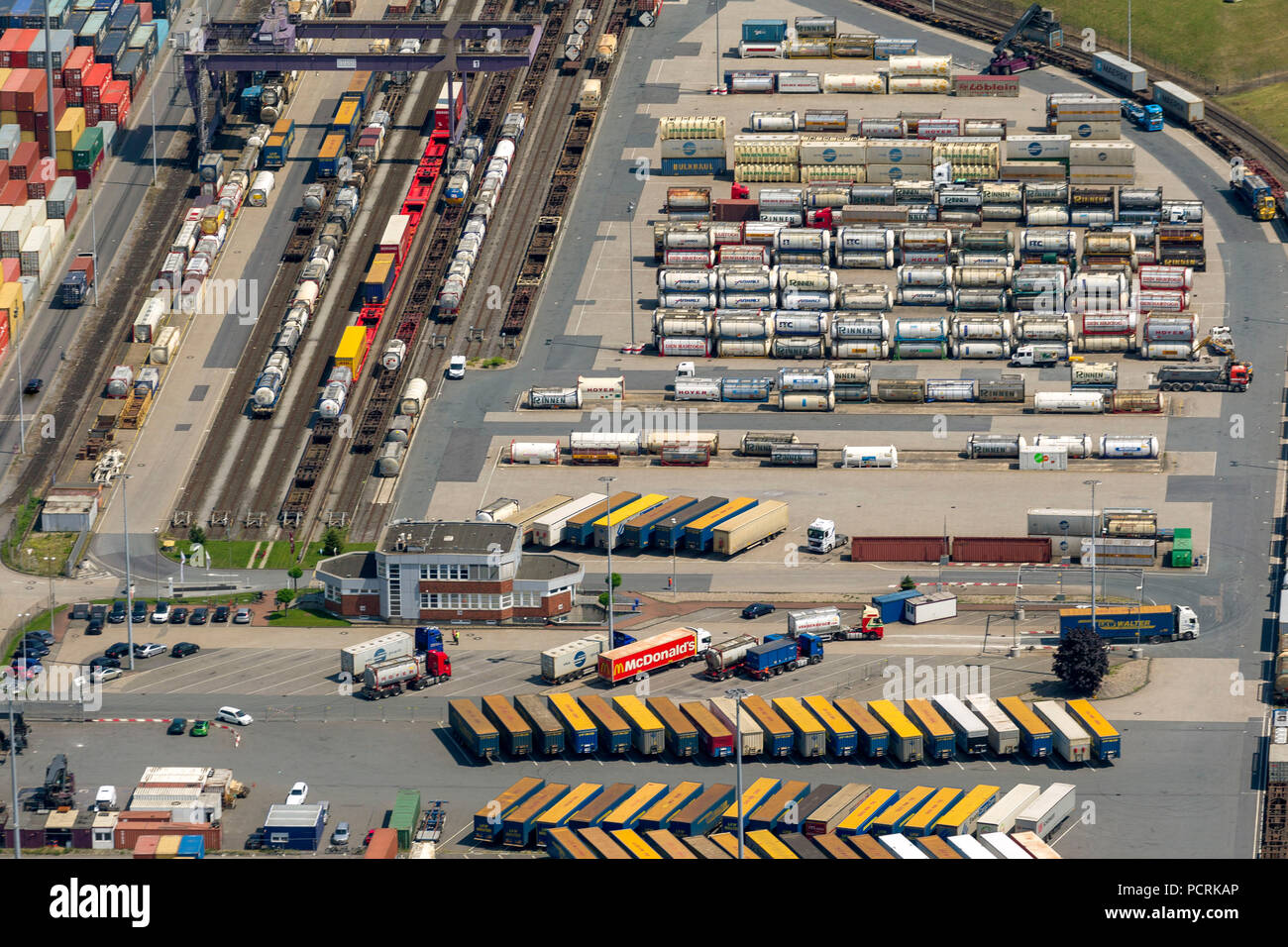 Duisburg Port, inland port, container port, Duisport, aerial view of Duisburg, Duisburg harbour - Stock Image