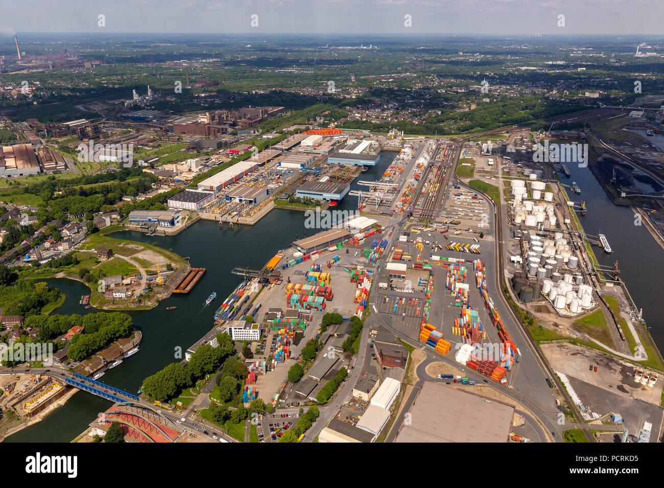 Duisport Ruhrort Harbour, inland port, Duisburg, Duisburg North, Ruhr area - Stock Image
