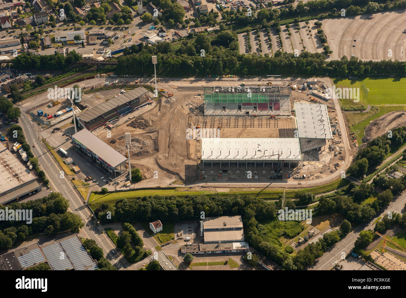 Aerial photo, Georg Melches Stadium, Rot-Weiss-Essen RWE Stadium, Essen, Ruhr area, North Rhine Westphalia, Germany, Europe - Stock Image