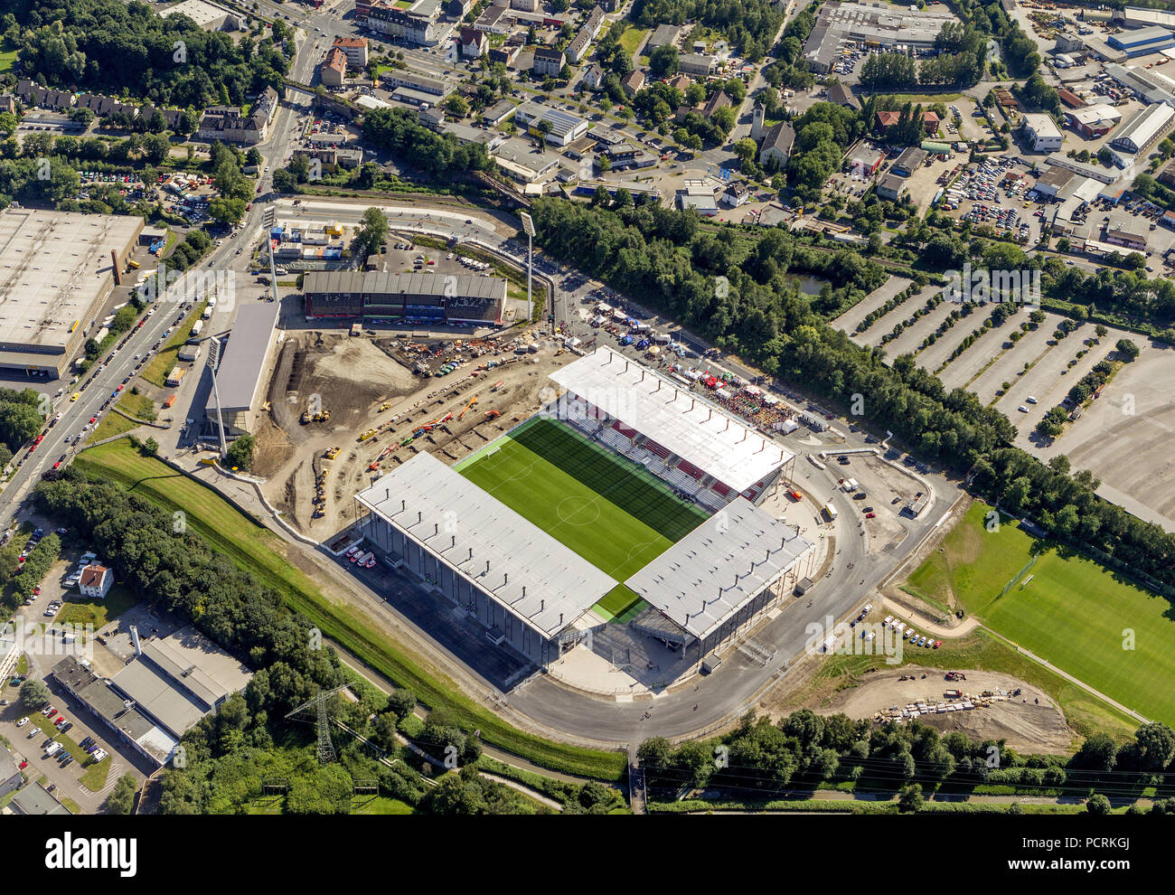 Aerial photo, after the opening of Essen Stadium, Rot-Weiss Essen, stadium at Hafenstrasse, Essen, Ruhr area, North Rhine-Westphalia, Germany, Europe - Stock Image