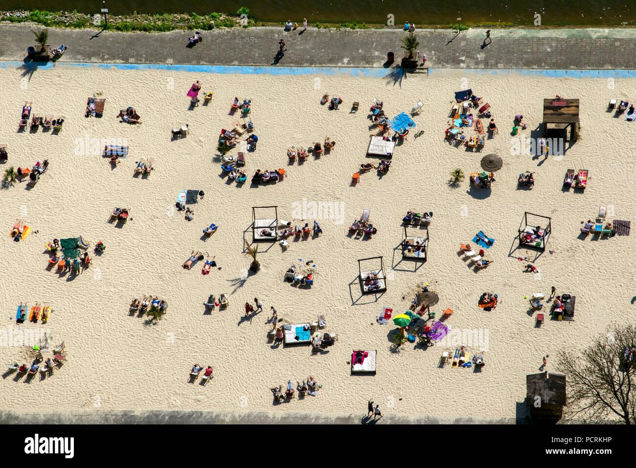 Aerial view of Essen, Lake Baldeneysee with Seaside Beach, Sunbathe, lido - Stock Image