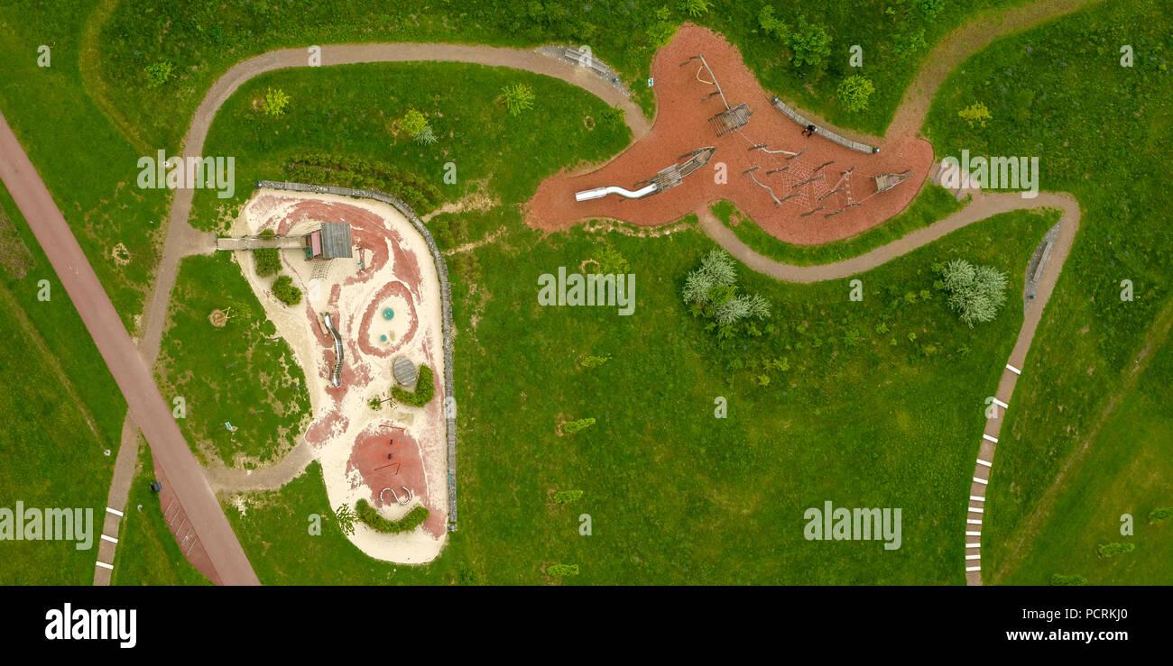 Krupp-Park playground, aerial view of Essen - Stock Image