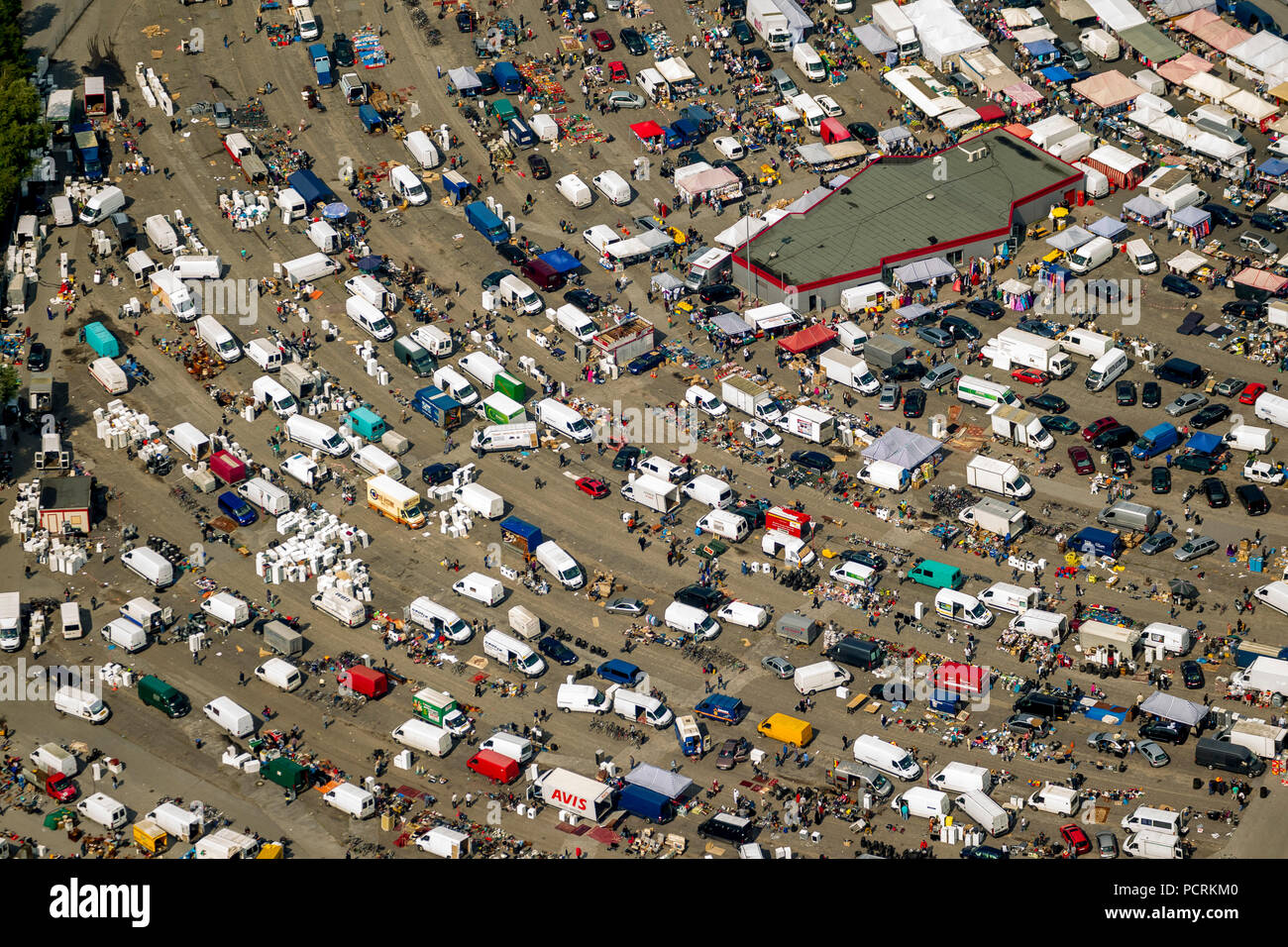 Aerial photo, drive-in cinema near Rot-Weiß Essen football stadium, flea market, car parts dealer, car parts market, Essen, Ruhr area, North Rhine-Westphalia, Germany - Stock Image