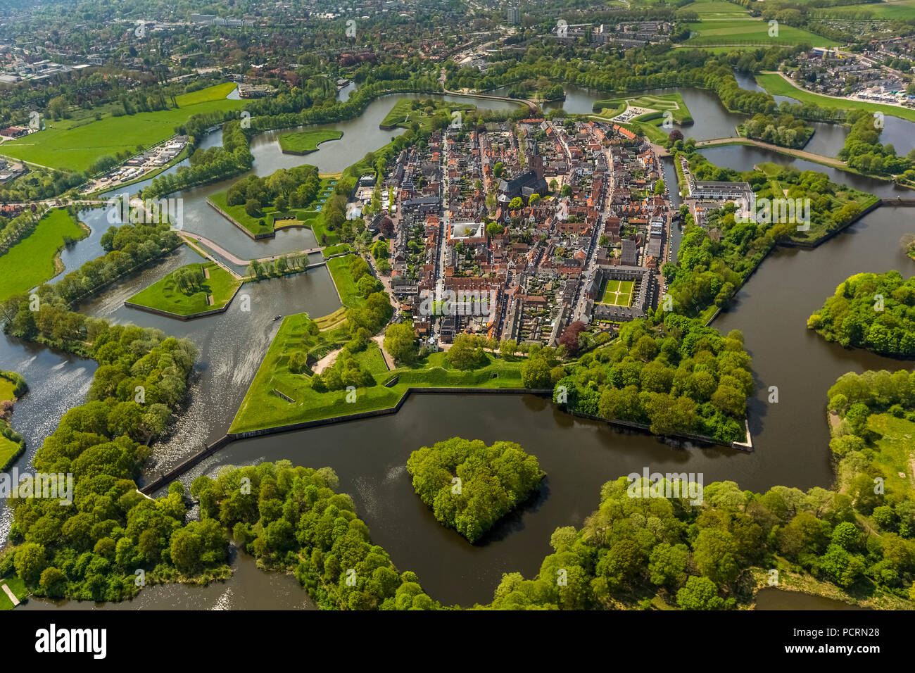 Bastion Oud Molen, NAARDEN VESTING, Fortress of Naarden with town house and church, Great Church or St. Vitus Church, medieval fortress, fortress town, North Holland, Naarden, North Holland, Netherlands - Stock Image