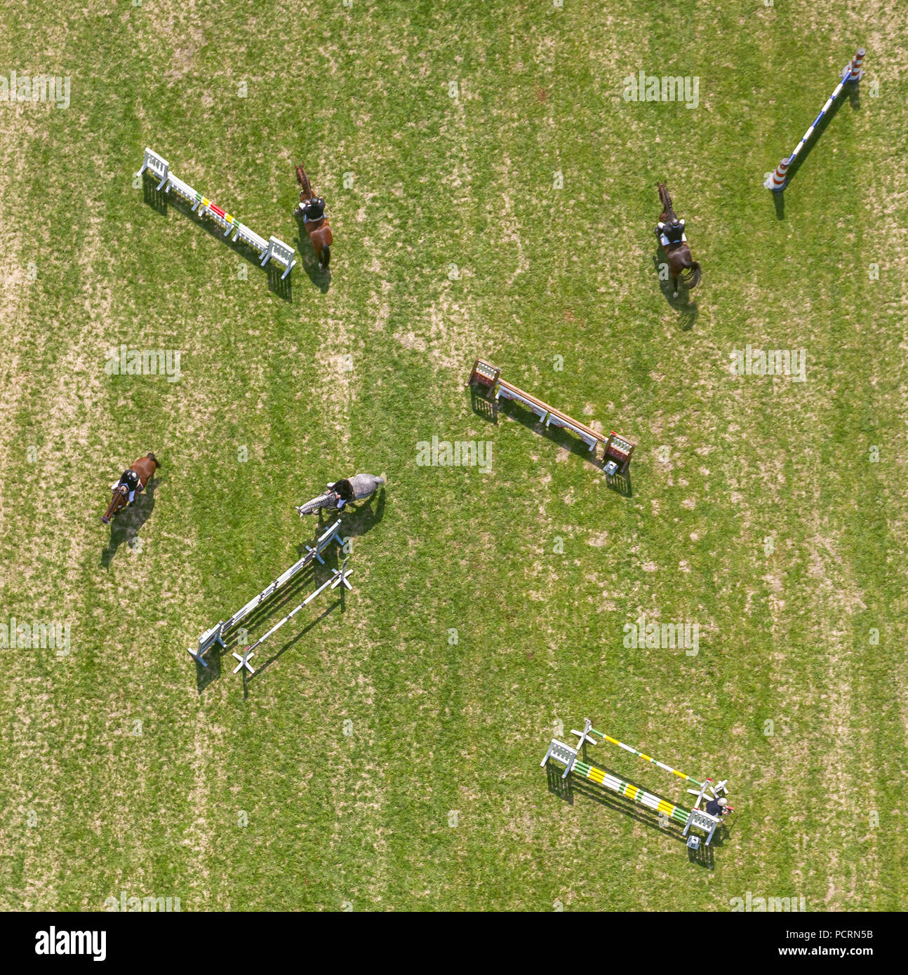 Obstacles on the riding arena, horse riding at Reit u. Fahrverein Heessen eV, aerial view of Hamm - Stock Image