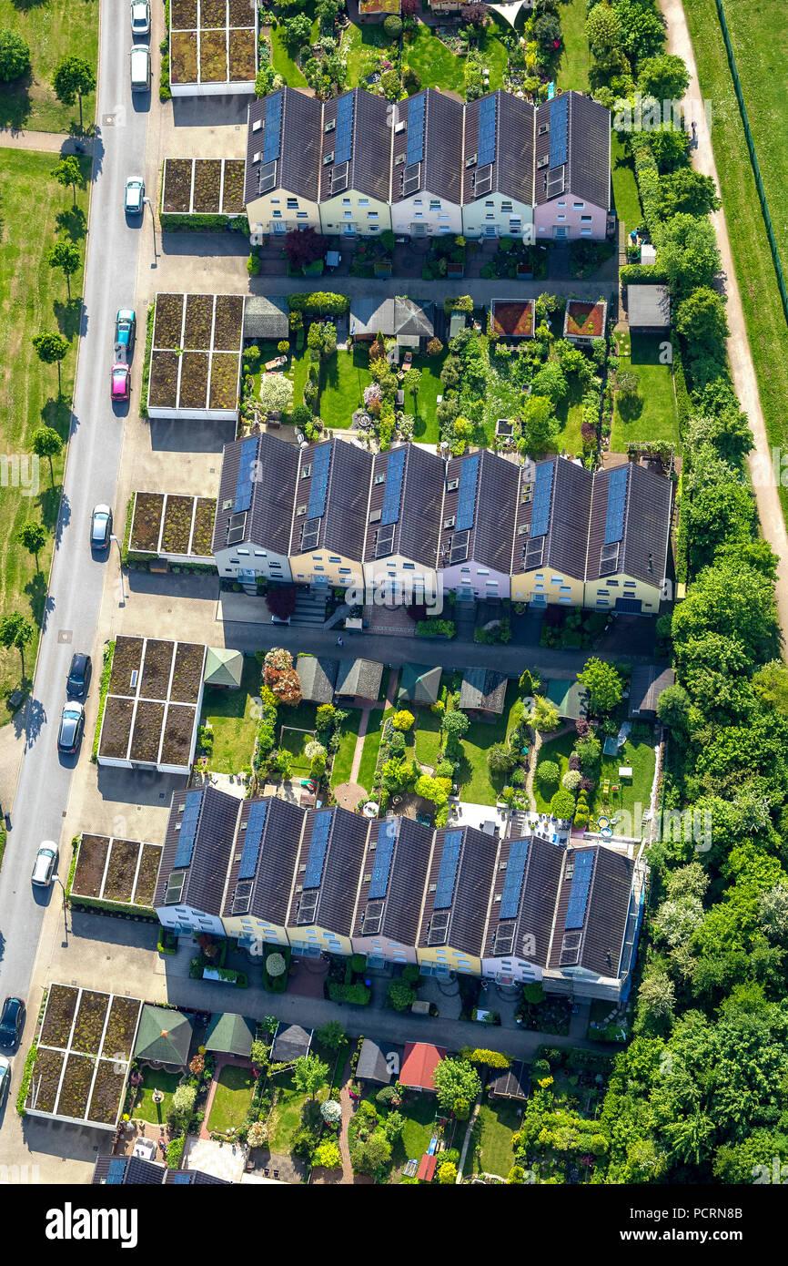 Solar settlement Sonnenhof, photovoltaic, aerial view of Gelsenkirchen - Stock Image