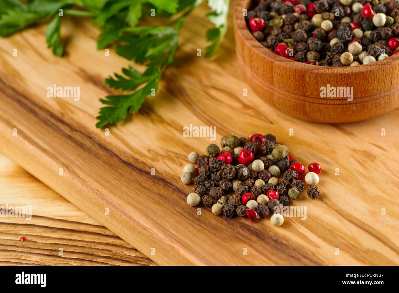 colored pepper peas - Stock Image
