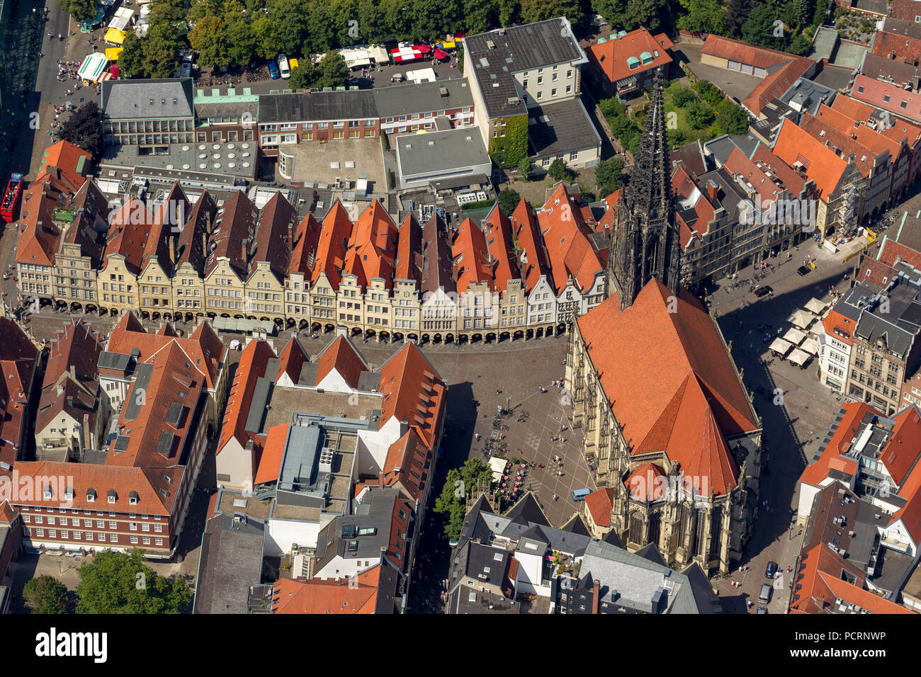 Aerial view, Prinzipalmarkt, historical Kaufmannsstraße gable houses, continuous arcades, Münster, Münsterland, North Rhine-Westphalia, Germany, Europe - Stock Image