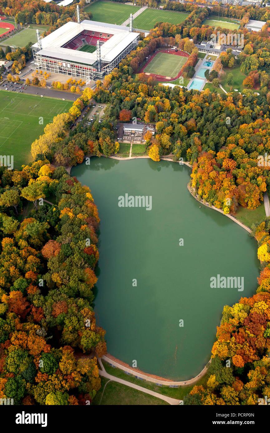 Aerial view, RevierEnergieStadion, 1.FC Köln, Rhein-Energie-Stadion, 2.Bundesliga, Cologne, Rhineland, North Rhine-Westphalia, Germany, Europe Stock Photo