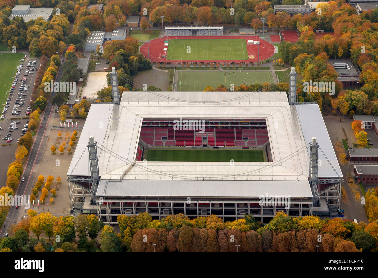 Aerial view, RevierEnergieStadion, 1.FC Köln, Rhein-Energie-Stadion, 2.Bundesliga, Cologne, Rhineland, North Rhine-Westphalia, Germany, Europe - Stock Image
