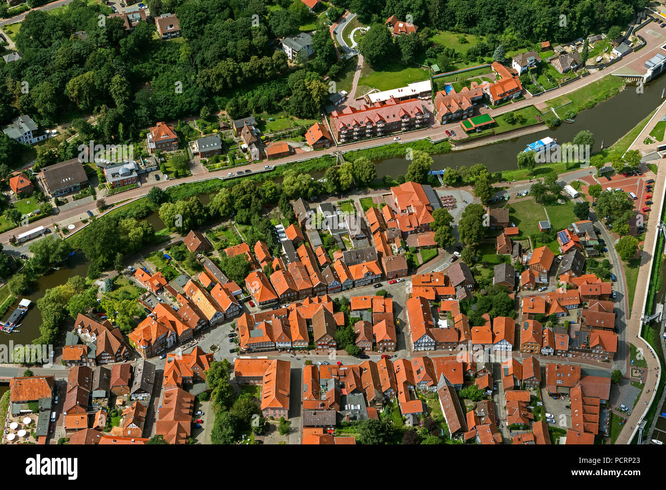 Aerial view, old town of Hitzacker with the Jeetzel and Altjeetzel, Elbe, Elbe shore, flood protection works, sluice, Hitzacker (Elbe), district Lüchow-Dannenberg, Elbe Valley, Lower Saxony, Germany, Europe Stock Photo