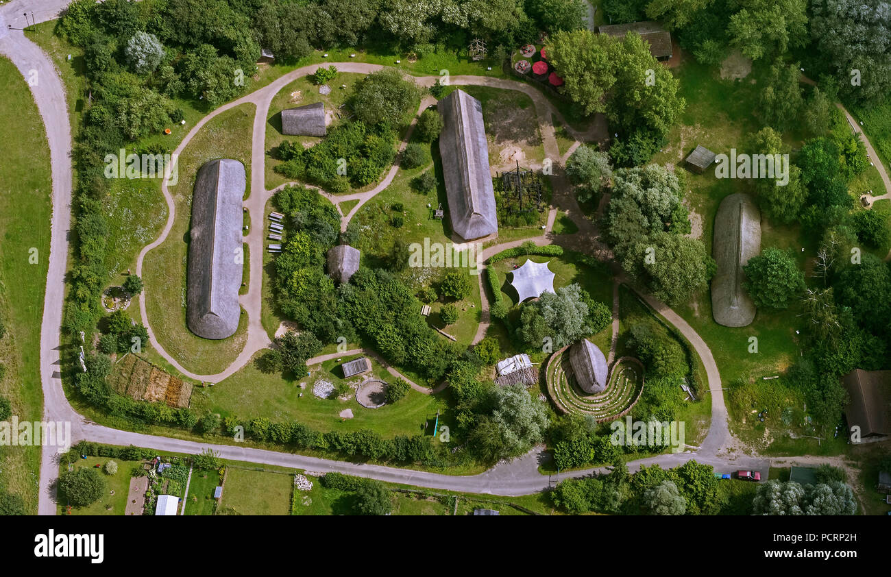 Aerial view, Archaeological Center Hitzacker, residential stables, longhouses, huts, mine house, open-air museum, Bronze Age settlement, Hitzacker (Elbe), district Lüchow-Dannenberg, Elbe Valley, Lower Saxony, Germany, Europe - Stock Image