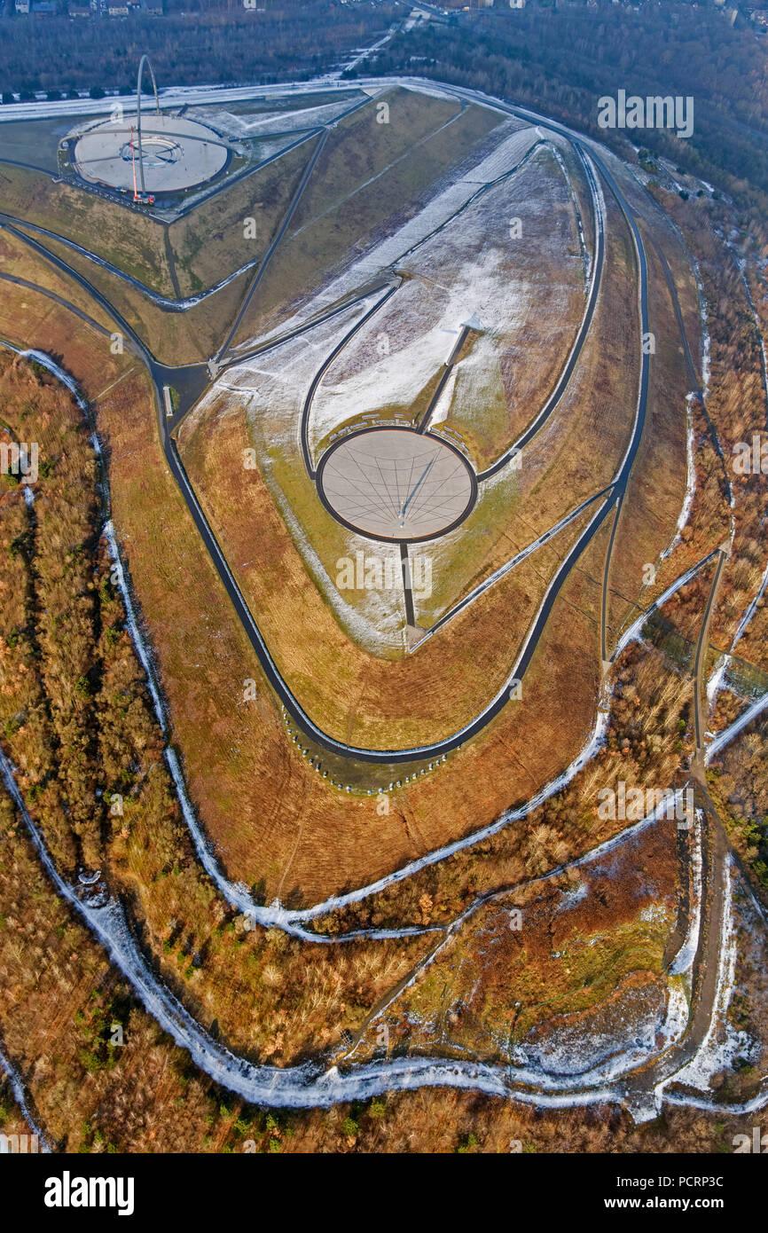 Aerial view, Halde Hoheward, Sundial, Horizont observatory, Herten, Ruhr area, North Rhine-Westphalia, Germany, Europe - Stock Image