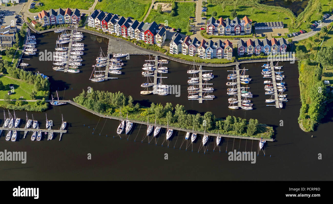 Aerial view, yacht harbor Greifswald, Ryck, harbor with colorful houses, Holzteichstraße, boat park GbR York of Raven, Greifswald, Peene, Mecklenburg-West Pomerania, Germany, Europe - Stock Image
