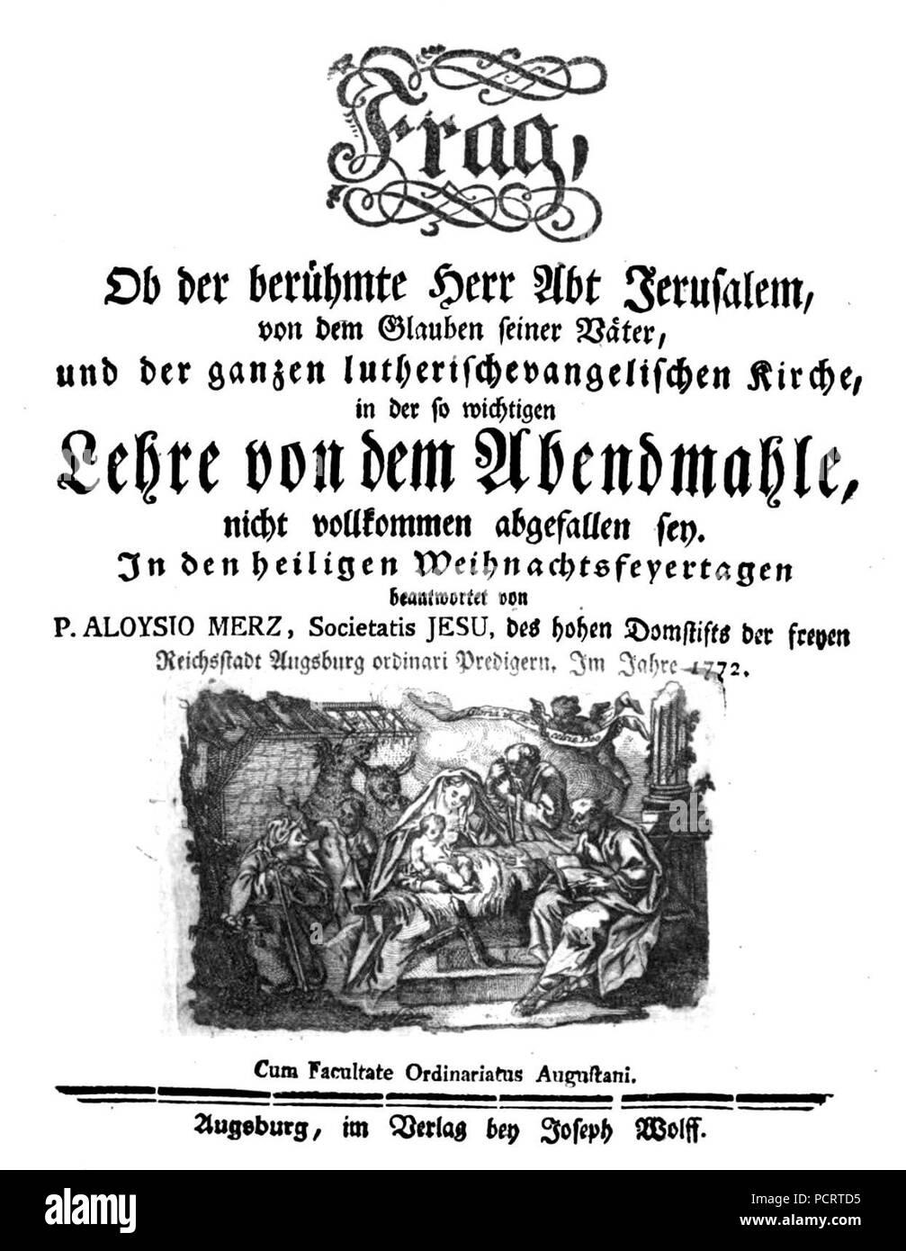 Alois Merz Ob der berühmte Herr Abt Jerusalem. Stock Photo