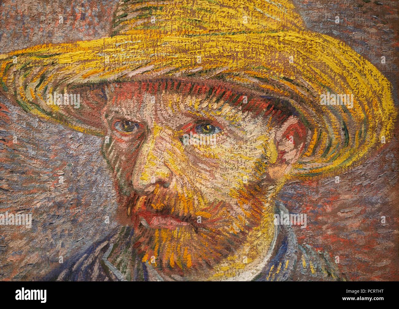 Van Gogh self portrait, 'Self-portrait with Straw Hat', 1887, detail - Stock Image