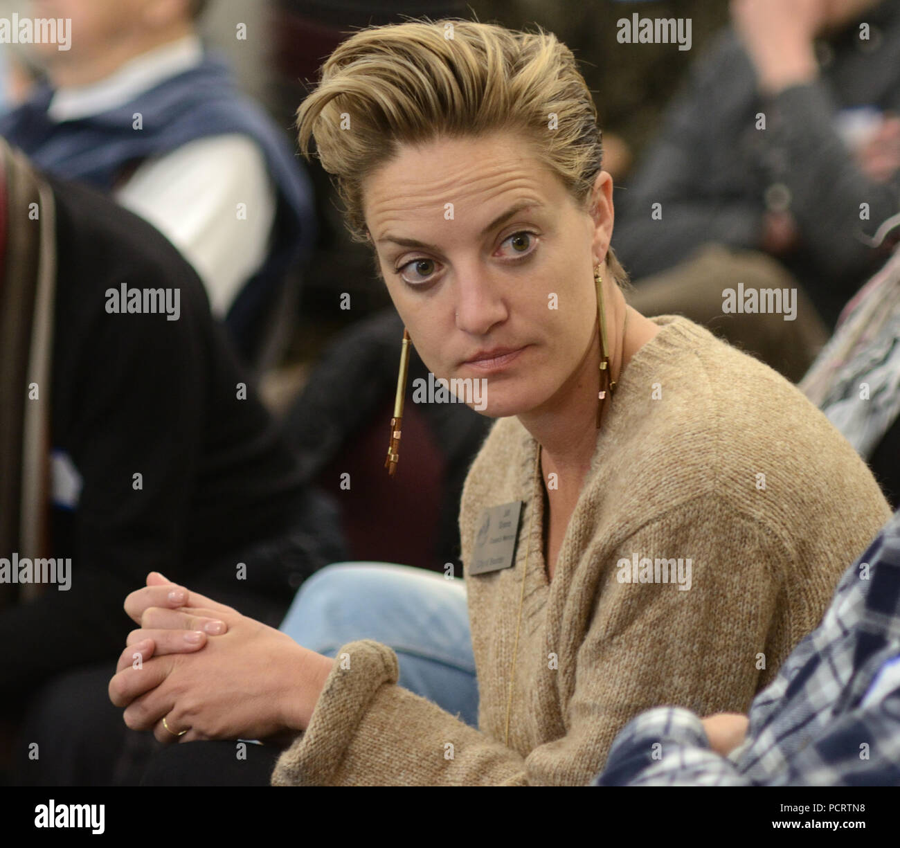 """Boulder City Council holds """"Chats with Council"""" events to obtain public input. Here, council memeber Jill Adler Grano listens. Stock Photo"""