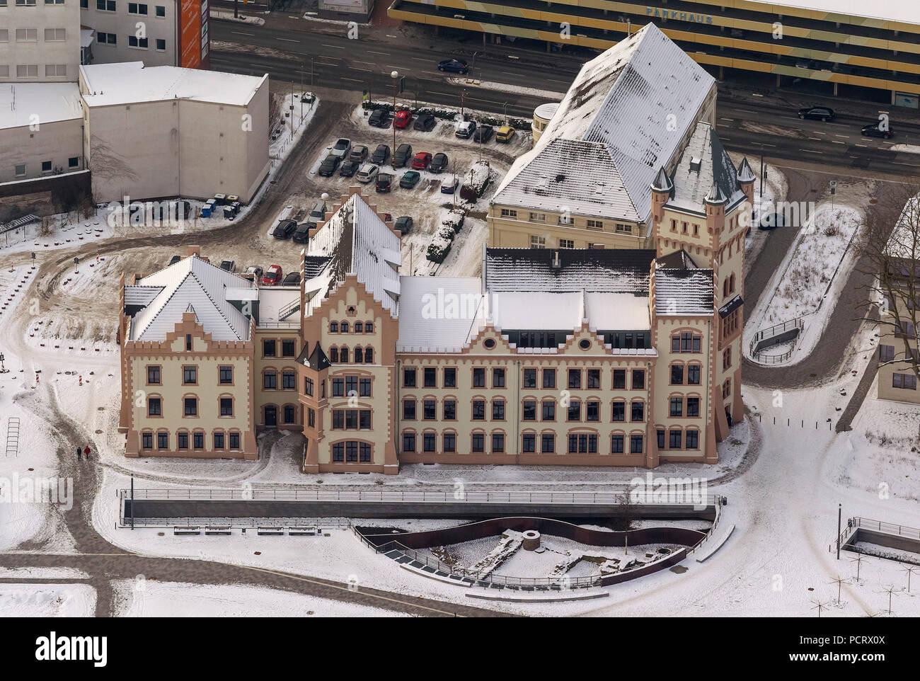 Aerial view, Hörder Castle, Phoenixsee, former steelwork Dortmund Hörde, Dortmund, Ruhr area, North Rhine-Westphalia, Germany, Europe - Stock Image