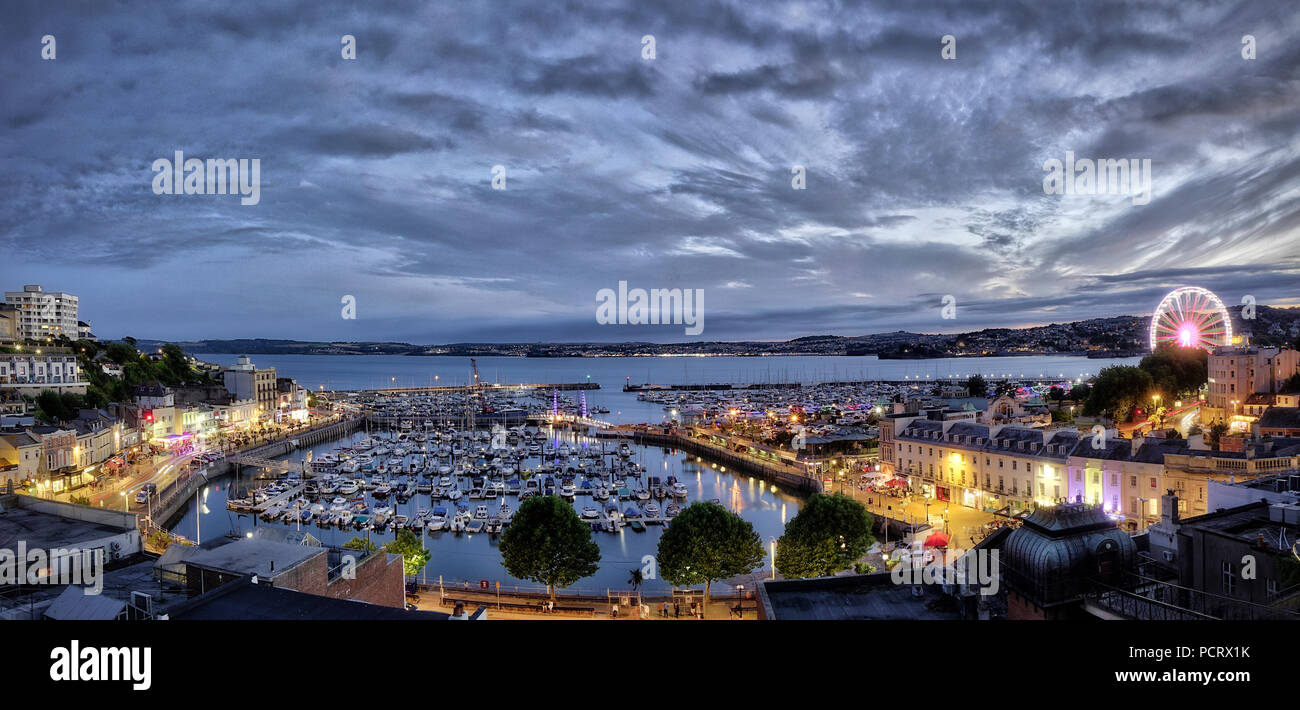 GB - DEVON: Torquay panorama at night (HDR Image) - Stock Image