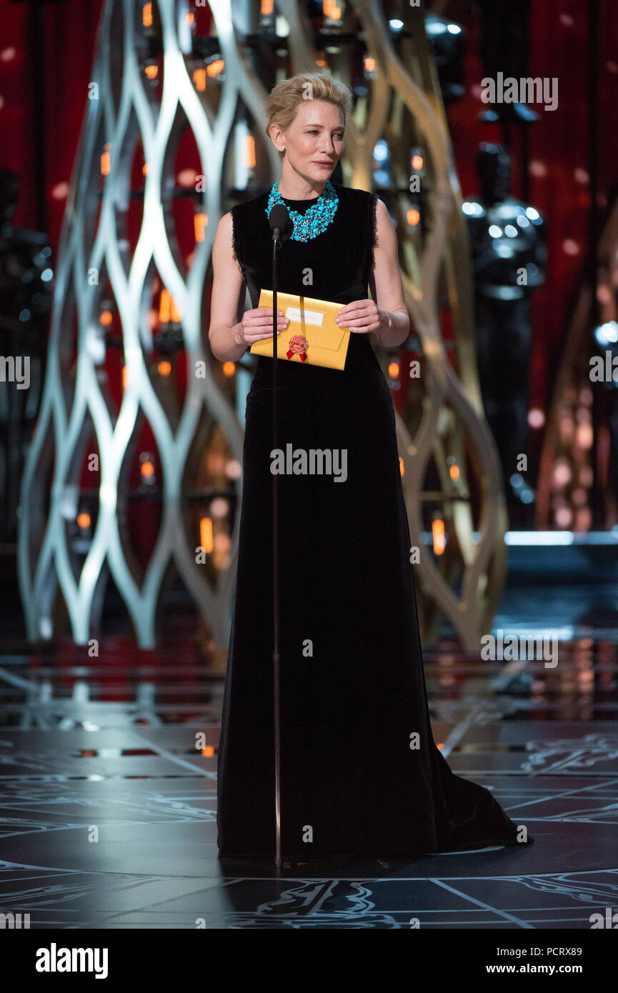 HOLLYWOOD, CA - FEBRUARY 22: Cate Blanchett onstage during the 87th Annual Academy Awards at Dolby Theatre on February 22, 2015 in Hollywood, California.   People:  Cate Blanchett - Stock Image