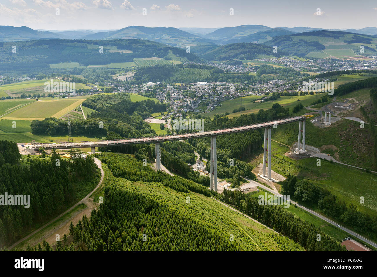 Nuttlar, highest valley bridge of North Rhine-Westphalia, construction work to the valley bridge Nuttlar, aerial view of Bestwig, Sauerland Stock Photo
