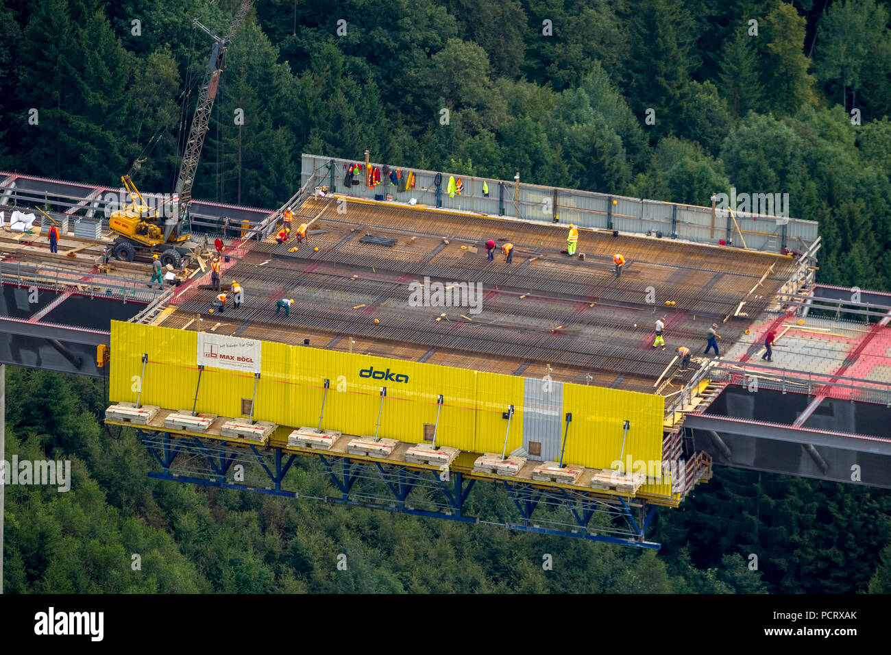 Aerial view, bridge construction site Nuttlar A46, aerial photos of the highest bridge NRW s, Bestwig, Sauerland, North Rhine-Westphalia, Germany - Stock Image