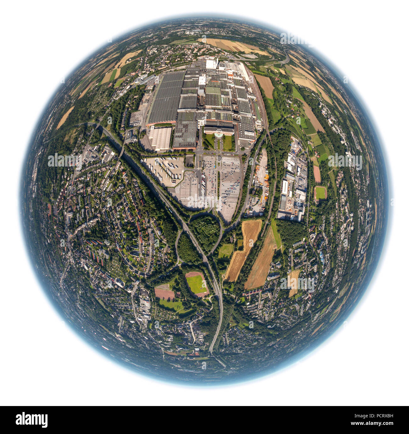 Aerial view, OPEL Opelwerk 1, General Motors, production shed, Bochum, Ruhr area, North Rine-Westphalia, Germany, Europe - Stock Image