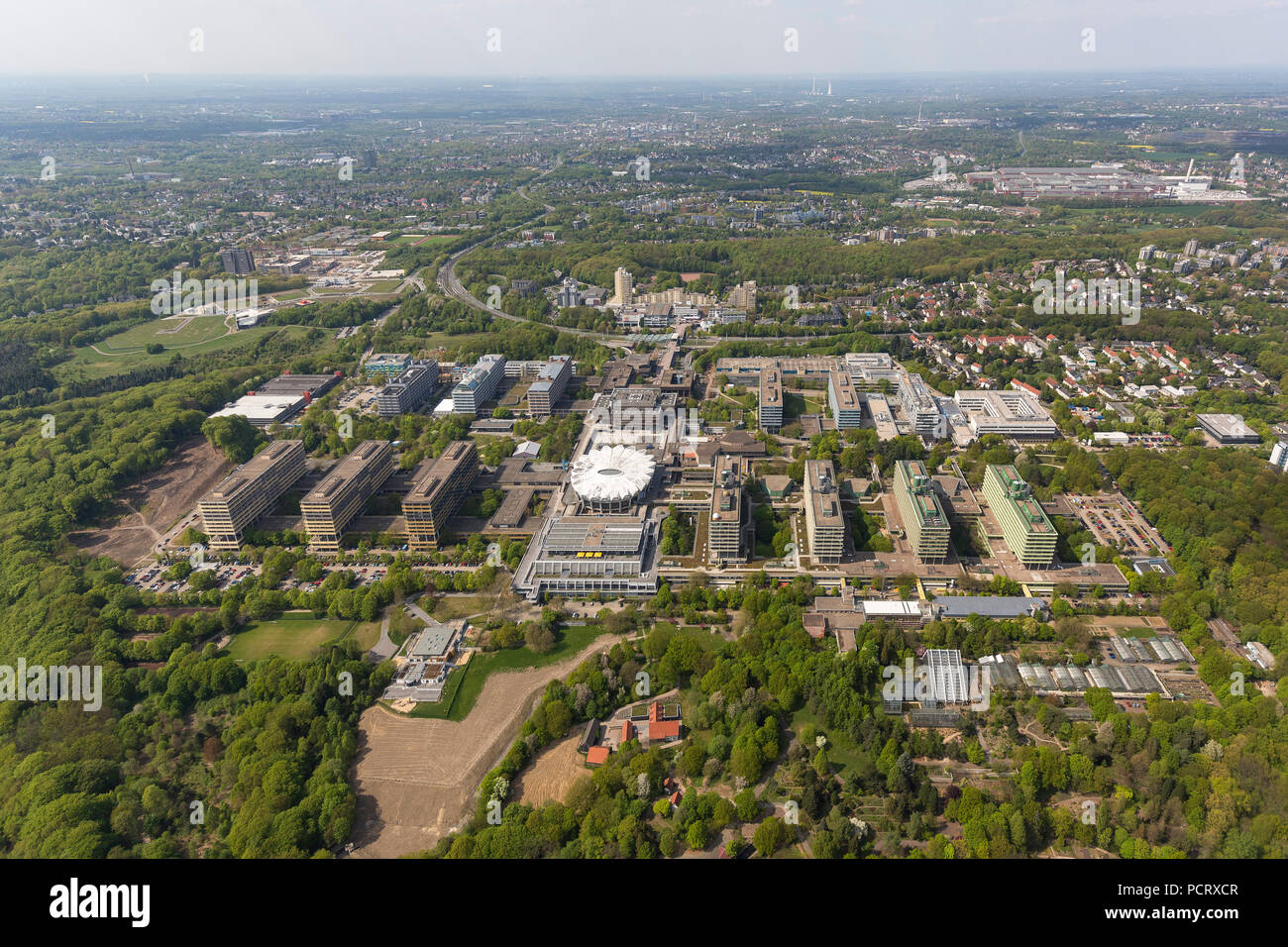 BioMedicine Center at the Ruhr University Bochum, RUB, aerial view of Bochum - Stock Image