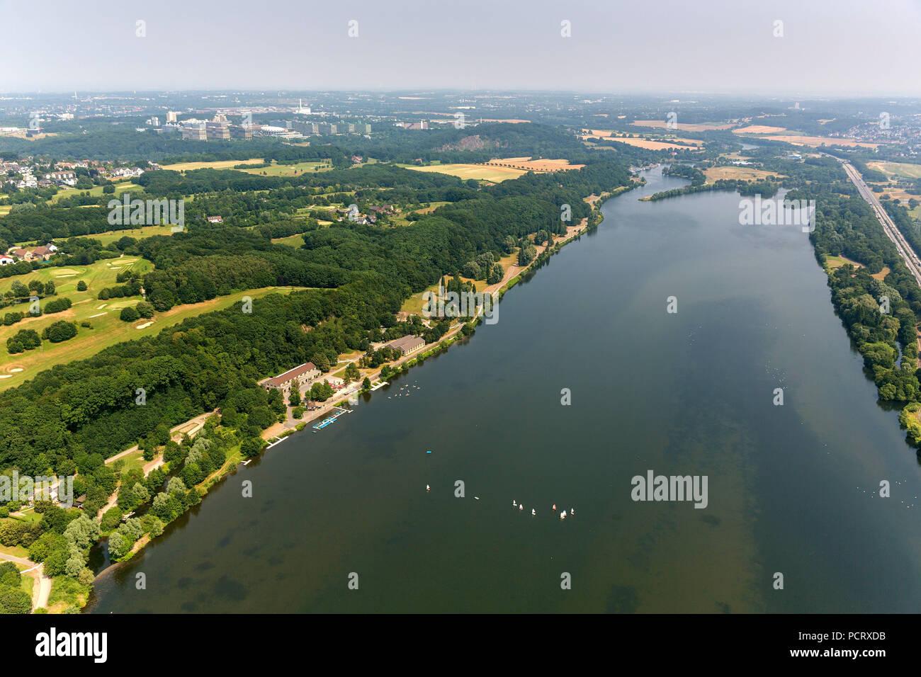 Kemnade, Kemnader reservoir, aerial view of Bochum - Stock Image