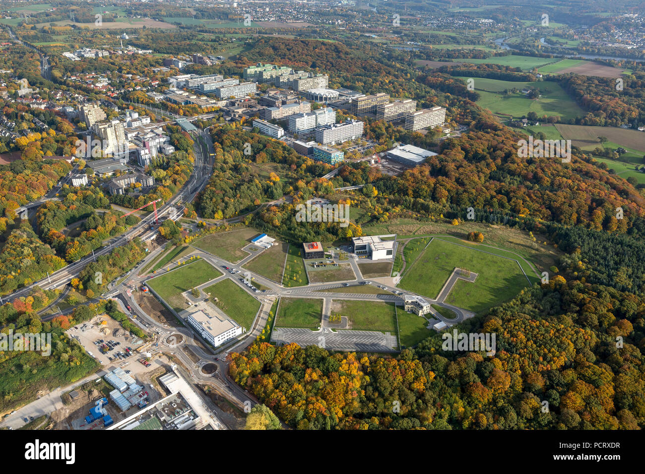 BioMedicine Park health campus, aerial view of Bochum - Stock Image