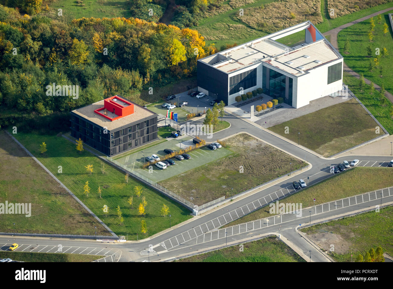 EGR Strategy Center Health NRW, BioMedicine Park health campus, aerial view of Bochum - Stock Image