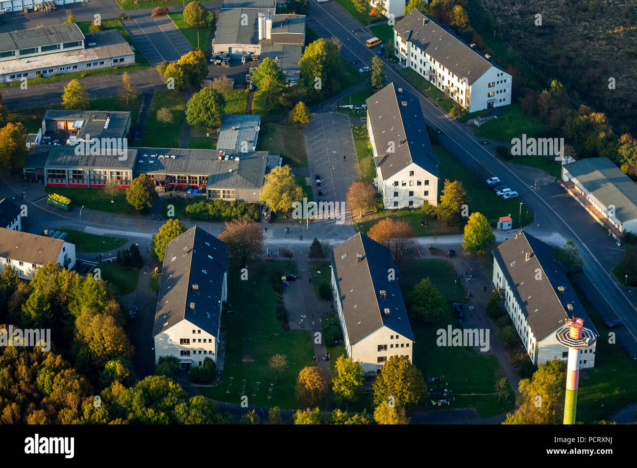Refugee center in the former Siegerland barracks in Burbach, mistreatment of asylum seekers by the guard services, European Homecare, Burbach, Sauerland, North Rhine-Westphalia, Germany - Stock Image