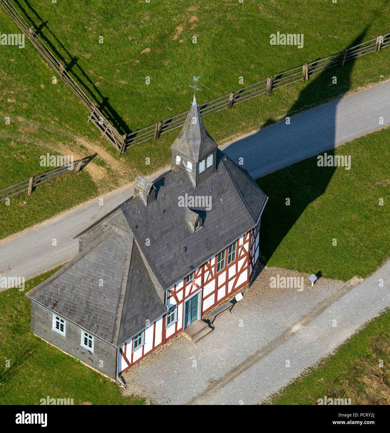 Small village church, half-timbered houses in the Lippische Open Air Museum Detmold, LWL Museum Detmold, country organisation Westfalen-Lippe, aerial photo of Detmold Stock Photo