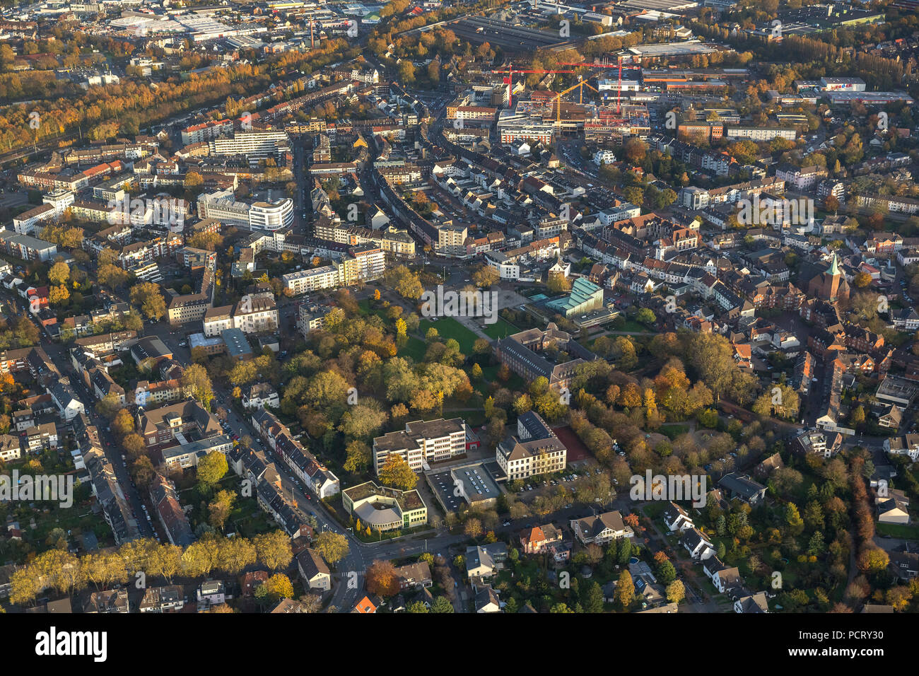 City center with city hall, Dinslaken, Ruhr area - Stock Image
