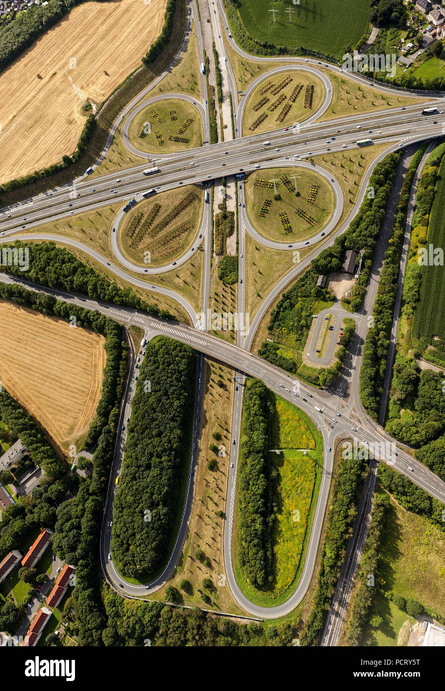 Aerial view, motorway junction DO-Bodelschwingh CAS-Ost A 45 and A42, Dortmund, Ruhr area, North Rhine-Westphalia, Germany, Europe - Stock Image