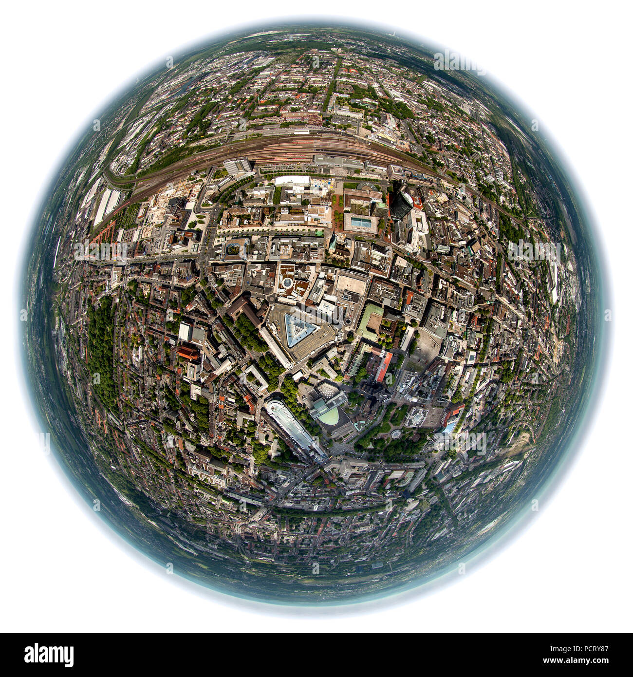 Aerial view, fisheye lens, Dortmund city centre with Thier-Galerie shopping centre in the middle, Dortmund, Ruhr area - Stock Image