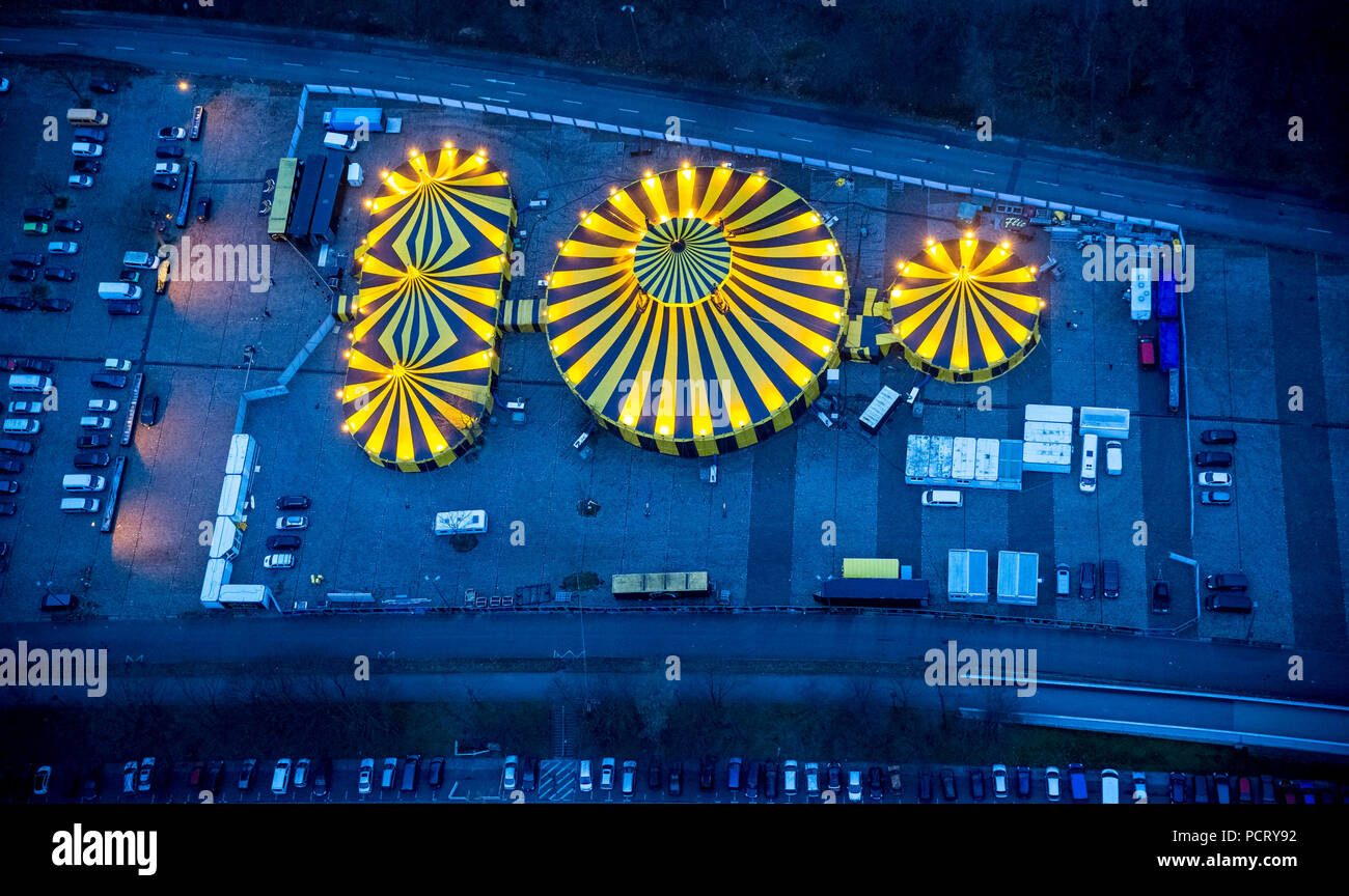 Circus tent, Christmas circus in coal-mining area, 'Beautiful Firetage' Show, car park E behind Westfalenhalle venue before Christmas program opening night, aerial view of Dortmund, Ruhr area Stock Photo