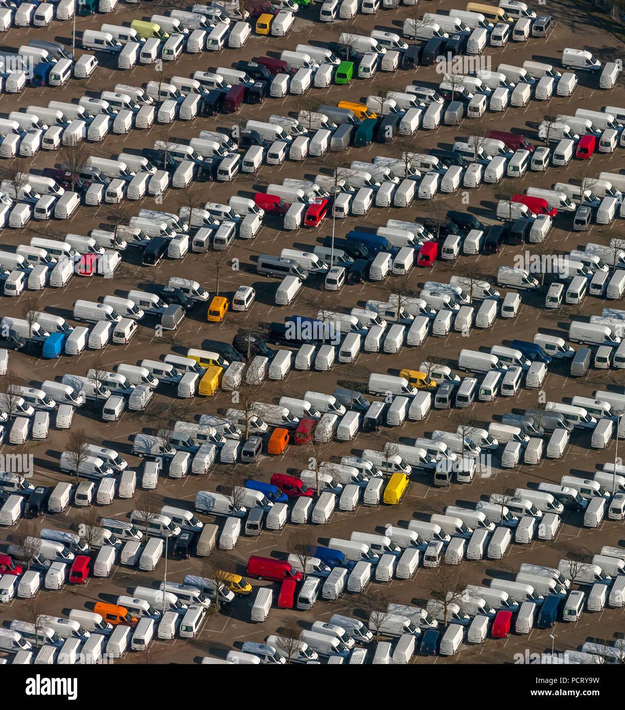 Aerial photo, Düsseldorf Sprinter production, new Sprinters, terminal, Dusseldorf, Rhineland, North Rhine-Westphalia, Germany, Europe - Stock Image