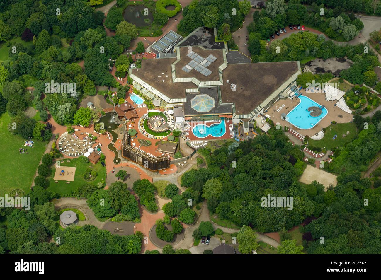 Aerial photo, Niederrhein-Therme thermal bath, Duisburg, Ruhr area, North Rhine-Westphalia, Germany, Europe - Stock Image