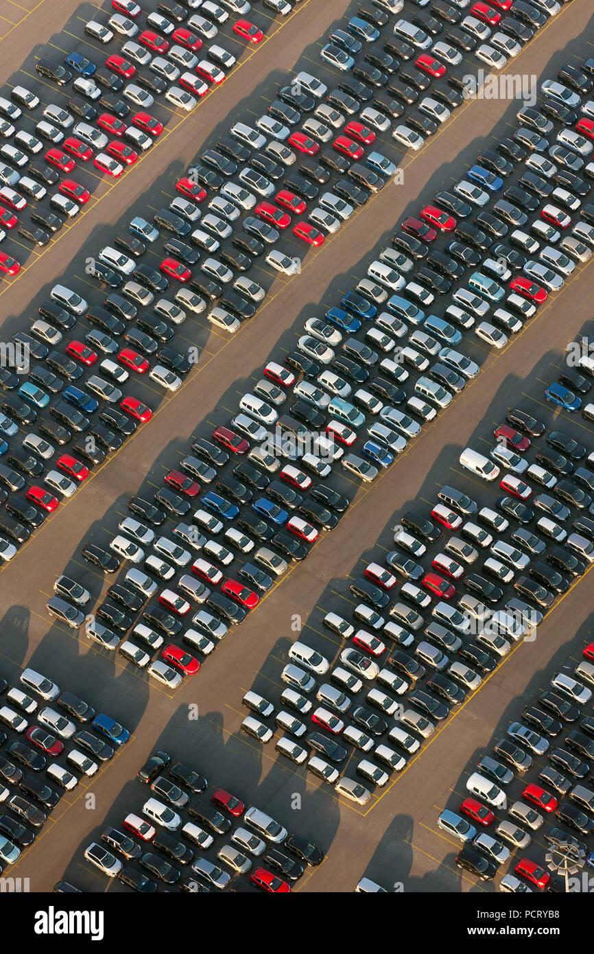 Aerial photo, motor vehicle importer, car teminal, new motor vehicles, car transport, forms, structures, Rheinhausen Logport, Duisburg, Ruhr area, North Rhine-Westphalia, Germany, Europe - Stock Image