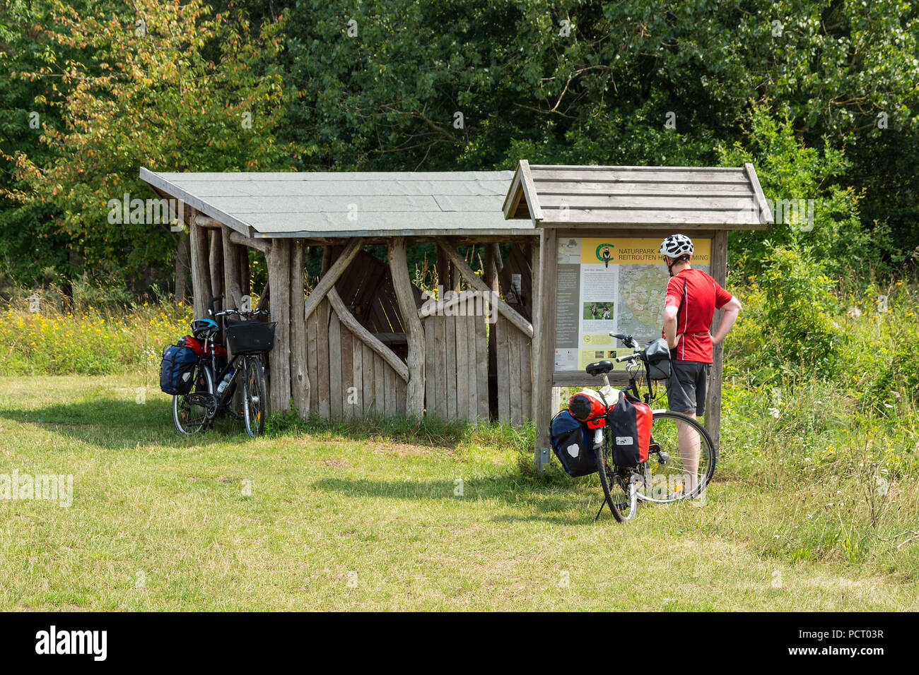 European cycle route R1, state Brandenburg, cyclists near Bad Belzig, information board - Stock Image
