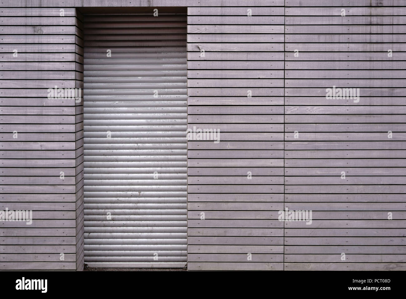 Close Up Of The Wooden Paneling Of A Wall Of A Closed Shop With Lowered